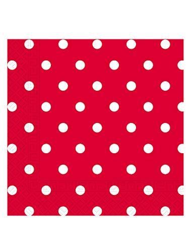 Procos PR80711 Papierservietten, 33 x 33 cm, rote Punkte, 20 Stück