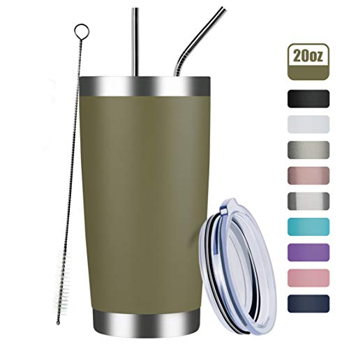 MEWAY 20oz Tumbler Cup Double Wall Vacuum Insulated Travel Mug Bulk, Stainless Steel Tumblers with Lid and Straw, Durable Powder Coated Coffee Cups for Cold & Hot Drinks (Army Green, 1)