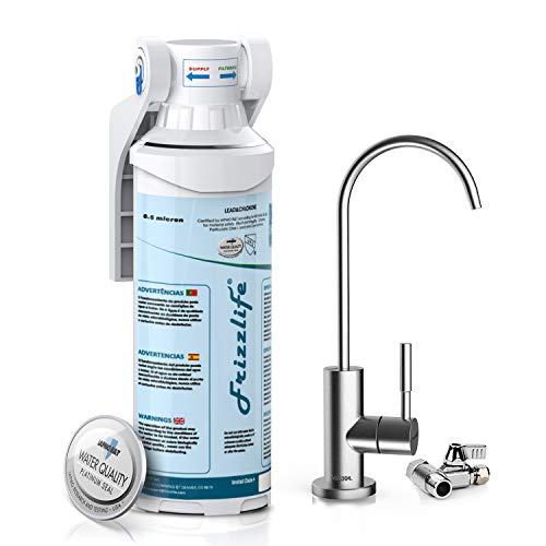 Frizzlife Under Sink Water Filter-NSF/ANSI 53&42 Certified Drinking Water Filtration System-0.5 Micron Removes 99.99% Lead, Chlorine & Odor, Reduce Fluoride-W/Dedicated Faucet