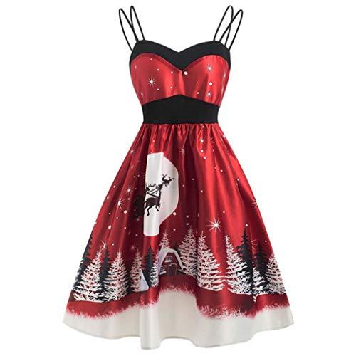 LOPILY Weihnachtskleid Damen Große Größen Spaghettiträger Abendkleider mit Weihnachtsmotiven Druck 3D Optiken Partykleider Hoch Tailliert Swing Ausgestellte Weihnachtskleider (Weinrot, XL)