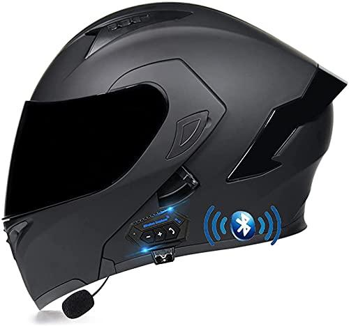Bluetooth Casco Moto Modular Casco de Moto Integral Dot/ECE Homologado para Mujer Hombre Adultos con Anti Niebla Doble Visera Casco Integrado con 500mA Auriculares Bluetooth (Color : 17, Size : XL)