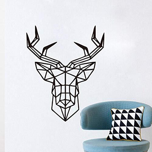 Aoyudf Pegatina de Pared Geométrica Cabeza de Ciervo Animal Serie Adhesivos de Pared Vinilo Arte Personalizado Decoración del Hogar Decoración Sofá 35x43cm