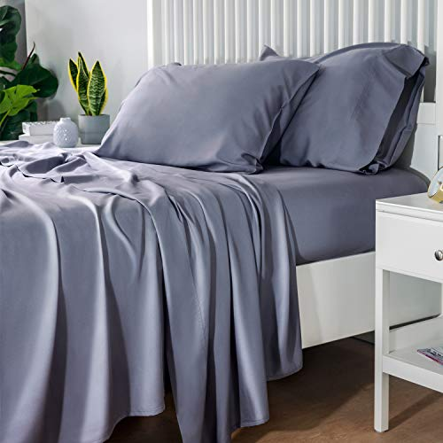 Bedsure 100% Bamboo Sheets Set Queen Grey - Cooling Bamboo Bed Sheets for Queen Size Bed with Deep Pocket 4PCs Super Soft Hypoallergenic