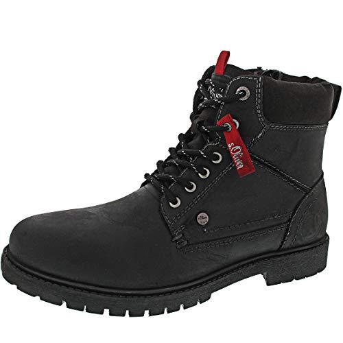 s.Oliver Herren Stiefel 15218-21,Männer Boots,Lederstiefel,Schnürstiefel,seitl. Reißverschluss,Black,EU 42