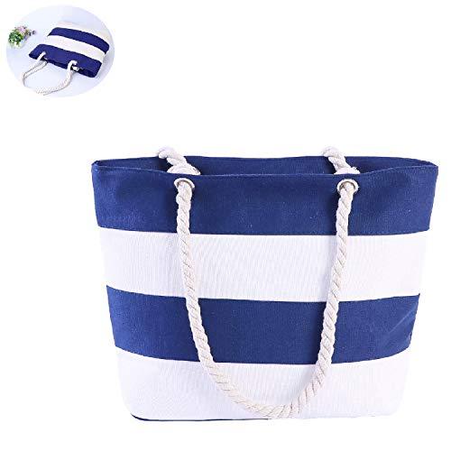 Damen Canvas Handtasche,Streifen Einzelne Schulter Beutel Segeltuch Handtaschen,Multifunktionale Umhängetaschen,Strandtasche,Einkaufs Tasche (Blaue und Weiße)