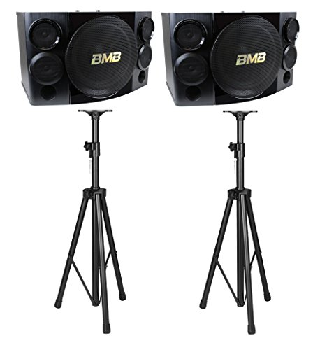 Best Buy! BMB CSE-312 800W 12 3-Way Karaoke Speakers (Pair) with 2 Heavy Duty Tripod Stands Bundle