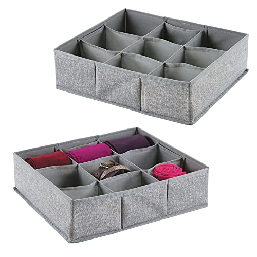mDesign Juego de 2 cajas organizadoras de tela con 9 compartimentos – Los organizadores para cajones y armarios ideales – Versátiles cestas de tela – Color: gris