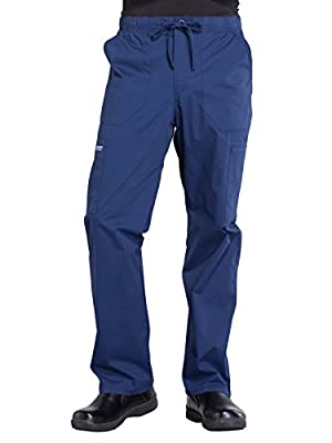 CHEROKEE WW Professionals Men's Tapered Leg Drawstring Cargo Scrub Pant, WW190, M, Navy
