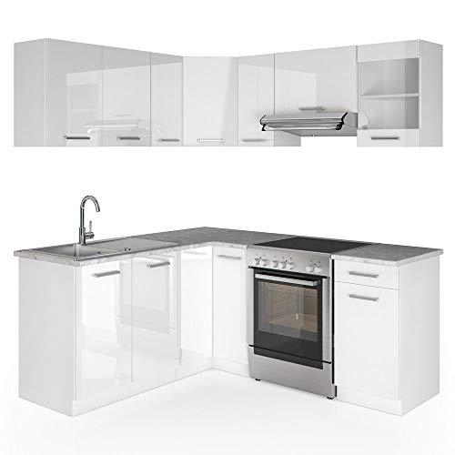 Vicco Küche Rick L-Form Küchenzeile Küchenblock Einbauküche 167x187cm Weiß Hochglanz - frei kombinierbare Möbel-Module