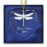 LaserGram Christmas Ornament, Dragonfly, Personalized Engraving Included (Heart Shape)