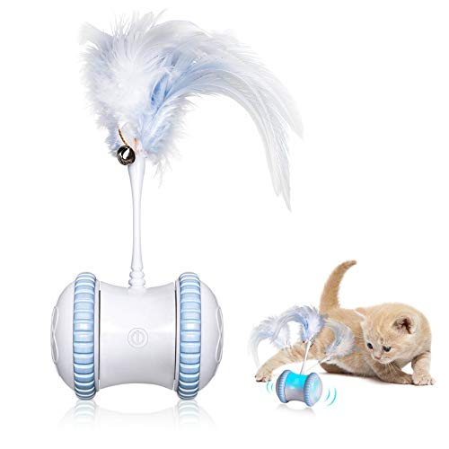 Automatic Cat Feather Toy—Smart Robotic Interactive Indoor Electronic Pet Toy—Auto/Manual Motorized Toy—360° Rotating Ball Colorful Light Cat Toys for Cat/Mouse/Kitten Hunting Exercise