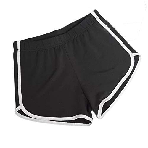 heekpek Sport Hotpants Damen Shorts Sexy Kurze Sporthose Mini Yogahose Jogginghose Baumwolle Beiläufige Elastische Workout Fitness Running Gym (Schwarz, S)