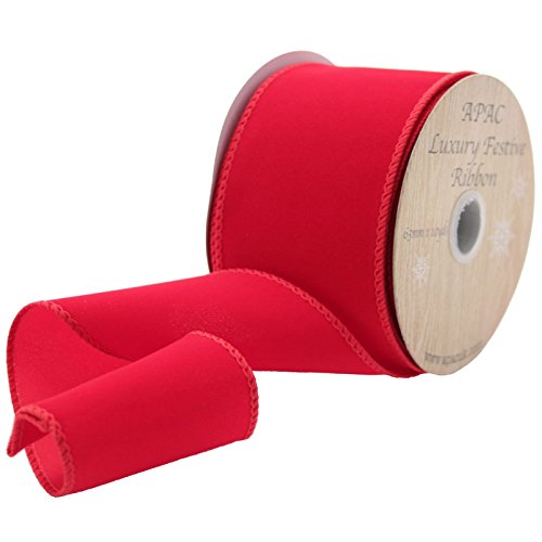 Luxury Velvet Wired Ribbon - RED Floristry Festive Christmas Wreaths Gifts Flowers 63mm (2.5') x 10yards Roll