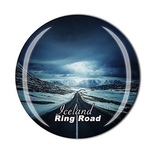 Imán de nevera de Ring Road Islandia para regalo de recuerdo de viaje para el hogar o la cocina de la decoración magnética de cristal de la colección de imanes