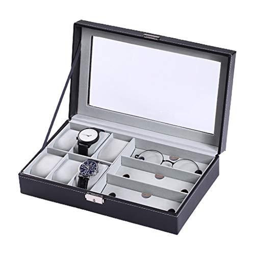 OKwife Multi-Rejillas PU Cuero Reloj Caja de Almacenamiento Joyería Pulsera Caja Gafas Organizador