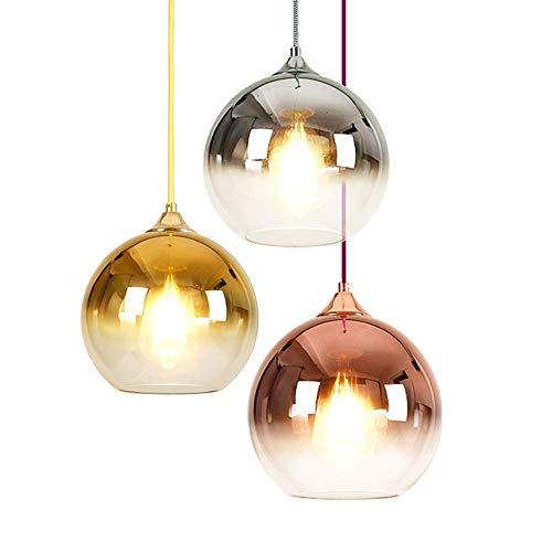 Pendelleuchte,Moderne Einfachheit Glas hängende Beleuchtung Steigung-Farben-Lampenschirm Bunte Glaskugel-Licht Schatten E27 Hängeleuchte 1-Licht (Farbe: Rose Gold) -Rose Gold-