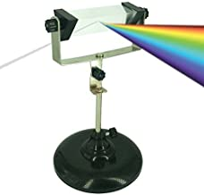 Bloomoak Optical Glass Triangular Prism,with Rotatable and Adjustable Steel Stand Holder,for Teaching Light Spectrum Physics,Photography and Crystal Rainbow Maker
