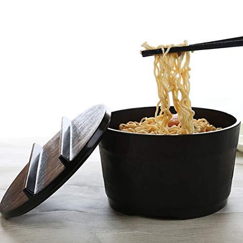 Melamin-Keramik-Simulierend mit Abdeckung Sofortige Nudelsalat Wärmedämmung Suppe Ramenschüssel Geschirr