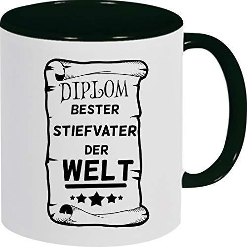 Shirtinstyle Kaffeepott Kaffeetasse, DIPLOM Bester Stiefvater der Welt, Familie, Verwandtschaft, Kaffee, Tee, Spruch, Motiv, Logo, Farbe Schwarz