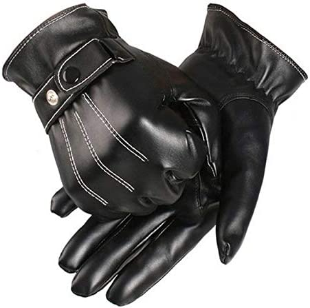 Free Ostrich Gloves Men Winter Leather Black Gloves Button Warm Mittens Luxurious PU Leather Driving Men's Genuine A3120 - (Color: Black, Gloves Size: One Size)