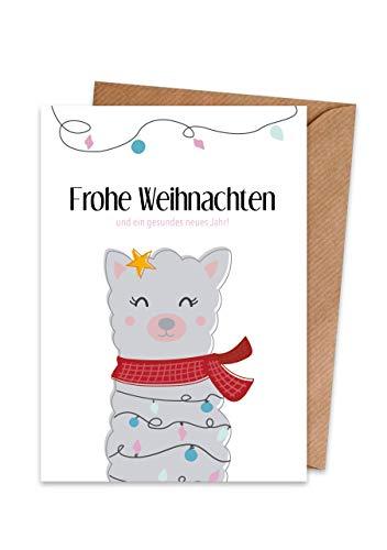Weihnachtskarten (15er Set) Lama Alpaka – hochwertige moderne Klappkarten & Umschläge (Kraftpapier) – partielle Glanzlack-Veredelung – einzigartiges Design – außergewöhnlich