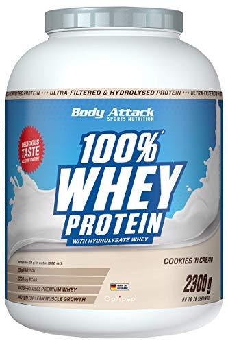 Body Attack 100% Whey Protein, Cookies n Cream, 2,3kg Dose Eiweißpulver