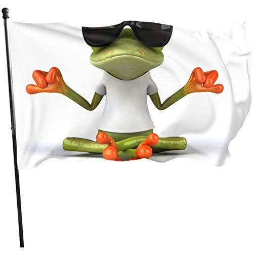 Kenice Gartenflaggen,Garten Banner,Feiertage Flags,Haus Hof Flagge,Hauptflagge,3'X5',Lustiger Laubfrosch Meditation Yoga Frosch Fahne Druck Hanging Flag Dekor