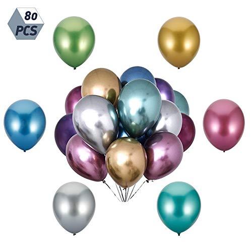 falllea 80 Piezas de Metálicos Globos Metalizados de Helio Globos de Cumpleaños de Colores para Cumpleaños Bodas Decoraciones