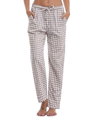 Aibrou Damen Schlafanzughose Pyjamahose Nachtwäsche Hose Baumwolle Lang Sleep Hose Pants Kariert Braun XL