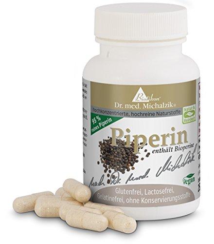 Piperin - nach Dr. med. Michalzik - Piperin aus Schwarzem Pfeffer - bis zu 2000% bessere Bioverfügbarkeit durch 95 % Piperin-Gehalt - 60 Kapseln von 10 mg - Piper nigrum-Extrakt 95 % Alkaloide - Ohne Zusatzstoffe - von BIOTIKON®