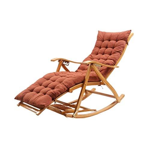 WFFF Silla Plegable, Mecedora de bambú con Masaje de pies, sillón de Siesta portátil Ajustable para Exteriores/balcón