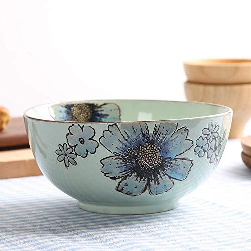 ZLININ Tazón de porcelana de cerámica vajilla de 7 pulgadas pintadas a mano sopa fideos ensalada cuencos 1 pieza