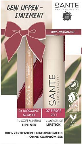 SANTE Naturkosmetik Coffret cadeau rouge à lèvres & crayon à lèvres avec rouge à lèvres hydratant et crayon à lèvres minéral pour les amateurs de déclaration, avec beurre de karité bio 6 ml