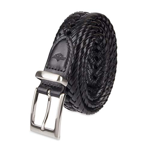 Dockers Men's Leather Braided Casual and Dress Belt,Black Lace,36