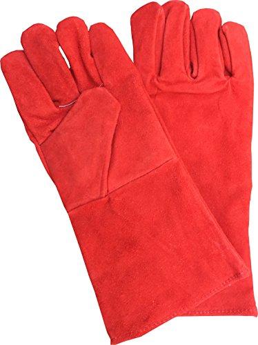 Guantes de soldadura de 390 mm de largo, guanteletes soldadores, guantes para chimeneas con leña, guantes de trabajo resistentes al calor, para alta temperatura de la estufa, barbacoa