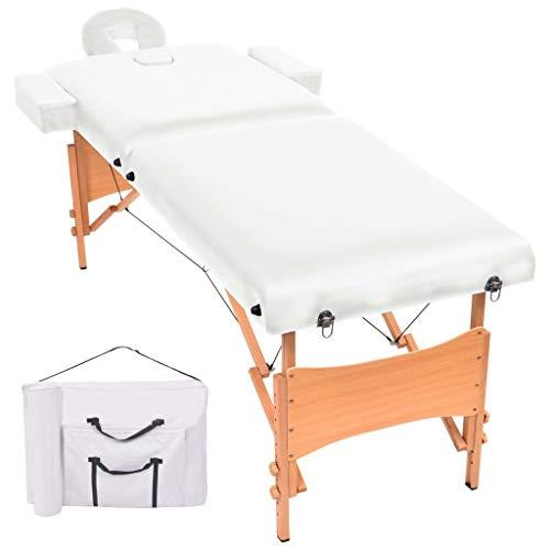vidaXL Massageliege 2 Zonen 10cm Polsterung Tragbar Mobil Weiß Massagetisch