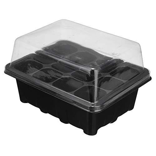 POOPFIY Semillas 2PCS Durable 12 células Agujero vivero de Plantas Macetas Grow Box Introduzca la Bandeja Propagación Siembra Caso Tiesto Plug Planta Bandejas