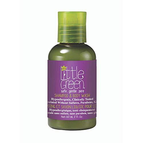 Little Green Kids - Gel de baño corporal y champú 2 en 1 60 ml para niños sin sulfatos, parabenos ni gluten | producto vegano sin aromas añadidos | tamaño viaje