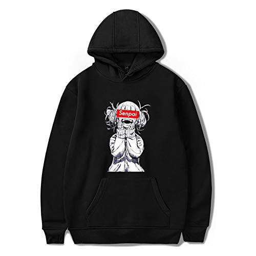 LHZHH Sweats à Capuche, Senpai d'hiver d'homme Anime Girl Nerdy Design Print Fleece Sweat-Shirts Automne Unisexe Noir drôle Hoody (Color : Noir, Size : L)