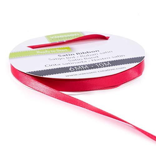 Vaessen creative Ruban Satin, Rouge, 6mm x 10m, Éclat Élégant pour Créer des Cartes, Scrapbooks, Emballage Cadeaux et Autres Projets Créatifs