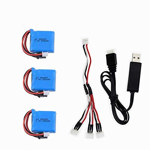 GzxLaY Batteria di Backup ad Alte Prestazioni 3 Pezzi 7.4v 650Mah Batteria Ricaricabile li-po con Caricatore USB USB per Pezzi di Ricambio per Barche Skytech H100 H102 RC