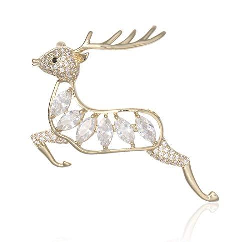 NLRHH Europäische und amerikanische Weihnachten Sika Hirsch Diamant Dreidimensionale Brosche Retro Exquisite Legierung Elch Brosche Weihnachten Tag Geschenk Kragen Pin Brosche Schmuck DIY Peng