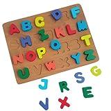 Puzzle de Madera Abecedario para Aprendizaje Temprano En Niños | Juguete Educativo Rompecabezas con Letras Coloridas del Alfabeto