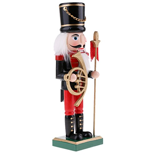 MagiDeal 25cm Vintage Wooden Nutcrackers Solider w/bagpipes Figurine Statue Model Christmas Featival Decor Decorative Ornament Collectibles