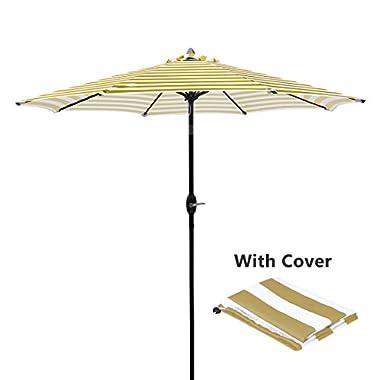 Masvis 9 Ft Aluminum Patio Umbrella Outdoor Table Market Umbrellas with Push Button Tilt and Crank, Safety Bolt,8 Aluminum Ribs (9 Ft(Aluminum), Beige&White)