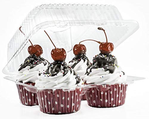 4 Compartment Cupcake Boxes | Clear Plastic Cupcake Container - Disposable Cupcake Holders | Muffin Carrier - Cupcake Clamshell Trays | Cup Cake Packaging Transporter | 40 Pack