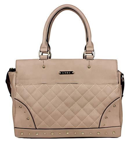 LYDC Elegante Damen Shopper Tasche Schultertasche gesteppt groß - Stepptasche Henkeltasche Kunstleder, Farbe:Beige