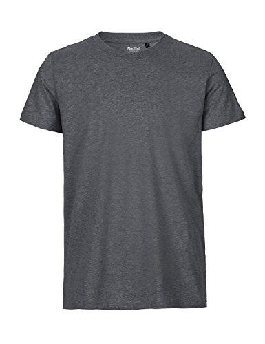 -Neutral- T-Shirt, 100% Bio-Baumwolle. Fairtrade, Oeko-Tex und Ecolabel Zertifiziert, Textilfarbe: dunkelgrau, Gr.: L