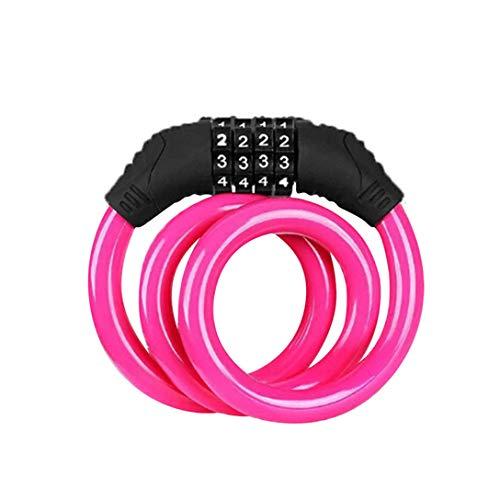 MAJFK - Cable de bloqueo para bicicleta (4 dígitos), color rosa