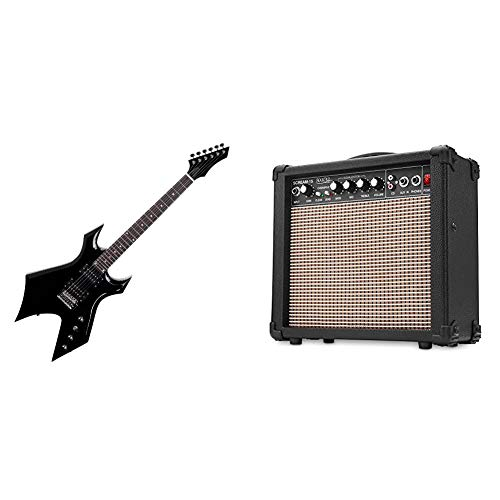 Rocktile Warhead E-Gitarre & Scream 15 Gitarrenverstärker Mini Combo Amp (15 Watt Amplifier, 2-Kanäle, Portable, AUX-In für MP3/CD, 3-Band Equalizer, Kopfhöreranschluss)